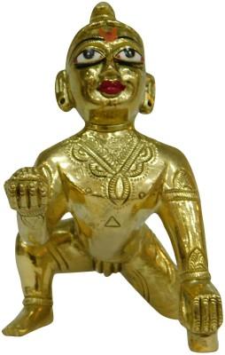 vinayakmoorti Bal Krishna Murti Bal Krishna Statue Bal Krishna Idol Astadhatu Lord Natkhat Bal Goapal Idol Best For Janmasthami Bal Gopal Murti Decorative Showpiece - 16 cm(Brass, Gold)