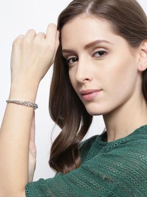Jewels Galaxy Alloy Cubic Zirconia Platinum Charm Bracelet Jewels Galaxy Bangles Bracelets   Armlets