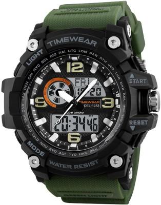 TIMEWEAR 1283GREENTW Timewear Military Series Analogue Digital Black Dial Watch for Men...