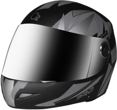 O2 Max Pro Full Face Helmet with Scratch Resistant Mercury Visor, Cross Ventilation Motorbike Helmet(Silver)