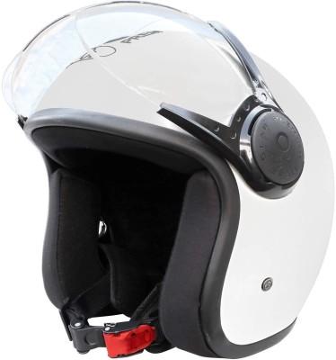 O2 STAR Unisex Open Face Helmet with Clear Scratch Resistant Visor, Adjustable Strap Motorbike Helmet(White)