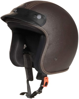 O2 Star Leather Unisex Helmet with Adjustable Strap Head Protector for Scooty Ride Motorbike Helmet(Brown)