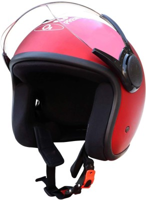 O2 STAR Unisex Open Face Helmet with Clear Scratch Resistant Visor, Adjustable Strap Motorbike Helmet(Cherry)