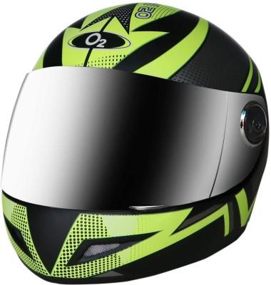 O2 Max Pro Full Face Helmet with Scratch Resistant Mercury Visor, Cross Ventilation Motorbike Helmet(Lemon Green)