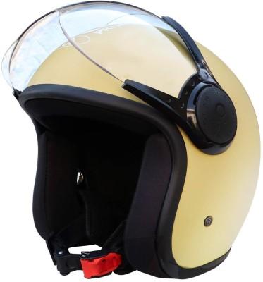 O2 STAR Unisex Open Face Helmet with Clear Scratch Resistant Visor, Adjustable Strap Motorbike Helmet(Khaki)