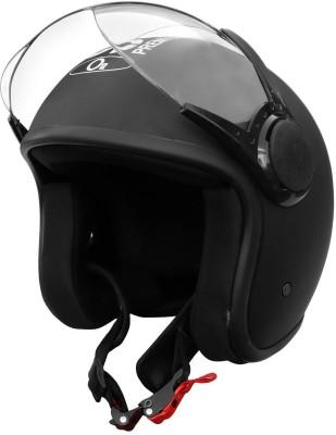 O2 STAR Unisex Open Face Helmet with Clear Scratch Resistant Visor, Adjustable Strap Motorbike Helmet(Matt Black)