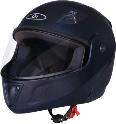 O2 PROX Flip Up Full Face Helmet with Scratch Resistant Visor, Cross Ventilation Motorbike Helmet(Shiny Black)