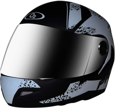 O2 Max Pro Full Face Helmet with Scratch Resistant Mercury Visor, Cross Ventilation Motorbike Helmet(Silver, Black)