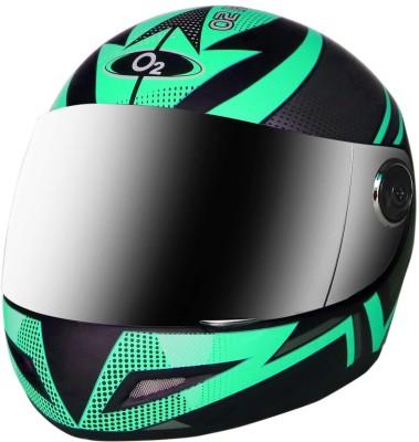 O2 Max Pro Full Face Helmet with Scratch Resistant Mercury Visor, Cross Ventilation Motorbike Helmet(Green)