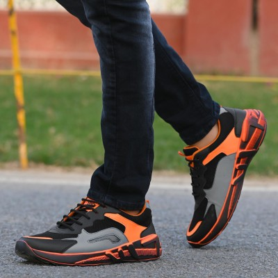 Durcus RUNNING SHOES,GYM SHOES,SPORTS SHOES,TRAINING SHOES,WALKING SHOES Running Shoes For Men(Black, Orange)