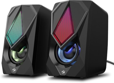 ZEBRONICS WARRIOR II 2.0 CHANNEL USB SPEAKER, LED LIGHTS WITH USB POWERED AND VOLUME CONTROL 10 W Laptop/Desktop Speaker(Black, 2.0 Channel)