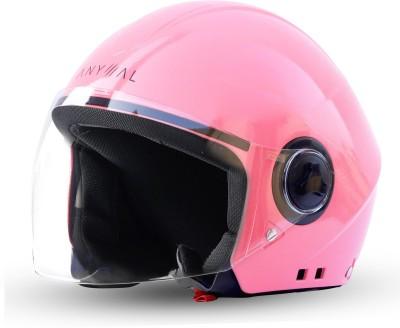 GoMechanic Anymal Series -Beetle Open Face Clear Visor Motorbike Helmet(Pink)