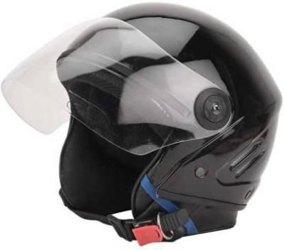 AQB TRYFLY HALF FACE UNISEX HELMET (ISI APPROVED) Motorbike Helmet(Black)