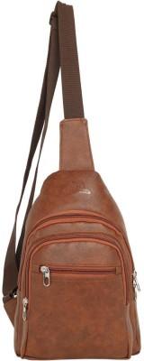 Leatherworld Unisex Stylish Cross Body Messenger Shoulder Bag 14 L Backpack(Tan)