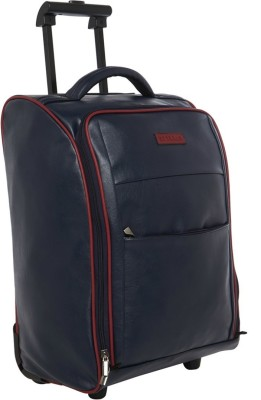 BAGSRUS Faux Leather Cabin Trolley Bag Small Travel Bag   Medium Blue BAGSRUS Small Travel Bags