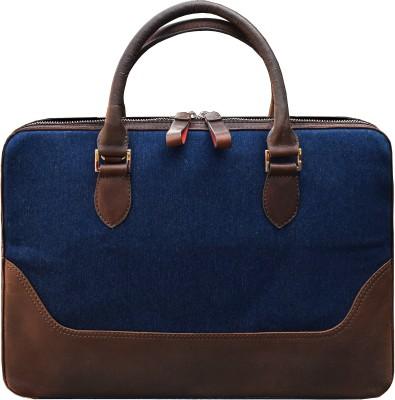 DR. HENRY 14 Inch Nevy Denim   Tan Genuine Leather Laptop Messenger   Shoulder Bag For Men And Women Laptop Bag Blue, Brown DR. HENRY Laptop Bags