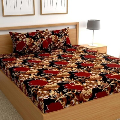 CHHAVI INDIA 120 TC Microfiber Double 3D Printed Bedsheet(Pack of 1, Red, Brown)