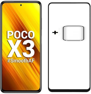 Msons Edge To Edge Tempered Glass for Poco X3 | Combo Pack Offer, 11D 9H Hardness Tempered Glass & Flexible Camera Lens Protector(Pack of 2)