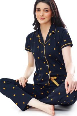 ZEYO Women Printed Yellow Shirt & Pyjama set