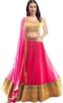R&H COMAPANY Self Design Semi Stitched Lehenga Choli(Pink)