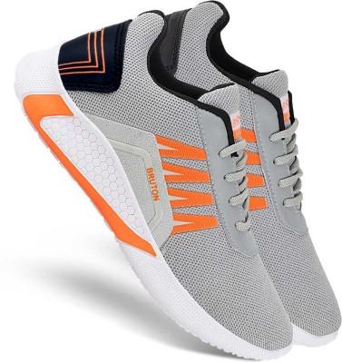 BRUTON Trendy Sports Running Running Shoes For Men(Orange, Grey)