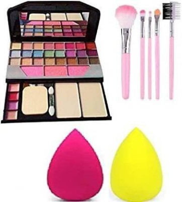 NKV'S Best makeup kit combo of eyeshadow makeup kit 7Pc black brush with 2 puff(4 Items in the set)