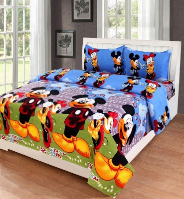 Home Pictures 120 TC Microfiber Double Cartoon Bedsheet(Pack of 1, Blue)