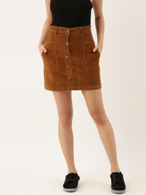 THE DRY STATE Solid Women Straight Brown Skirt