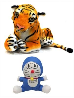NISHKARSH Combo Of Stuffed Toy Tiger King of Forest and Stuffed Doraemon Blue color   50 cm Multicolor NISHKARSH Soft Toys