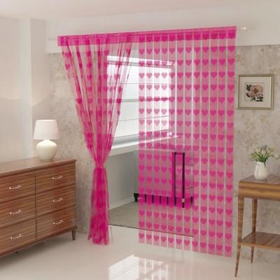 Flipkart SmartBuy 214 cm (7 ft) Polyester Door Curtain Single Curtain(Self Design, Pink)