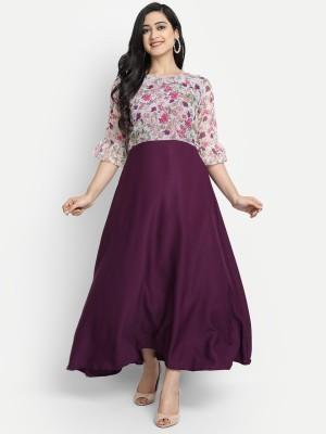 Jash Creation Women A-line Purple Dress