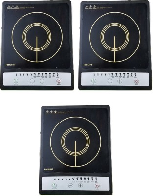PHILIPS HD4920 pack of 3 Induction Cooktop(Black, Touch Panel)