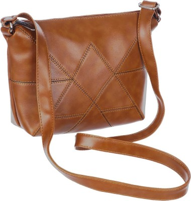 Leather Land Brown Sling Bag American Stitch Sling In TAN