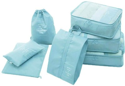 HOUSE OF QUIRK Polyester Packing Cubes With Pouch & Toiletry Bag- Light Blue(Blue)