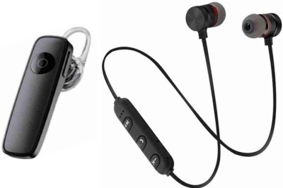 Ategolion Black Wireless with black headset Bluetooth Headset(Black, In the Ear)