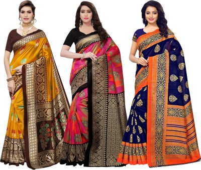 SAARA Floral Print, Paisley, Printed Kanjivaram Cotton Silk Saree(Pack of 3, Blue, Yellow, Pink)