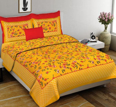 Diva Collection 150 TC Cotton Double Applique Bedsheet(Pack of 1, Yellow)