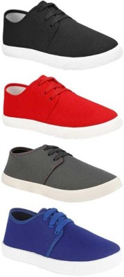 BRUTON Combo Pack Of 4 Canvas Sneakers For Men(Multicolor)