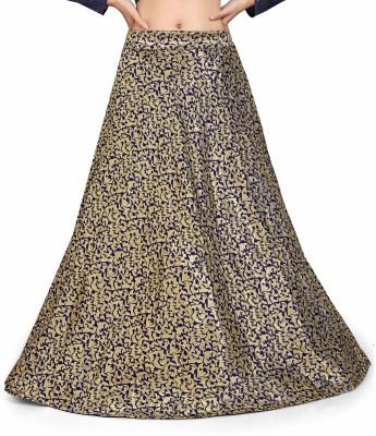 Sonu Creation Self Design Women Flared Gold Skirt