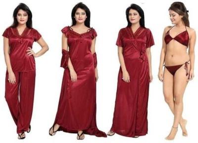 Lovie's Women Robe and Lingerie Set(Maroon)