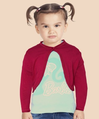 United Colors of Benetton Girls Button Self Design Cardigan