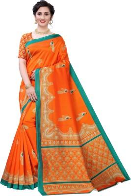 Fabwomen Printed Mysore Art Silk Saree(Orange)