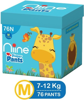 niine Cottony Soft Baby Diaper Pants with Wetness Indicator and Disposal Tape, MEGA BOX, Medium Size – M(76 Pieces)