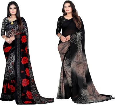 Leelavati Printed Daily Wear Poly Georgette Saree(Pack of 2, Black)