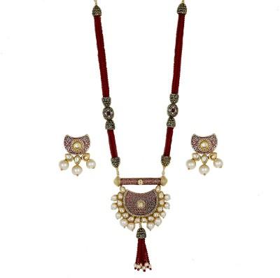 piah fashion Brass Jewel Set(Maroon)