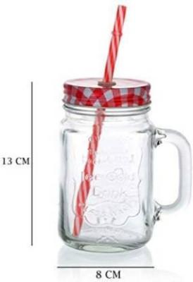 Shree Ganesh Creation Juice Mag | Mason Jars with Handle |500 ML Glass Mason Jar(500 ml)