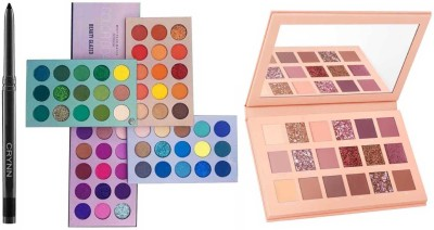 Crynn Smudge Proof Essential Makeup HD16 Rosedale Beauty Kajal & Beauty Glazed 60 Colors Matte & Shimmer High Pigmented Color Board Blendable Eyeshadow Palette & Nude Blushed Glam Eyeshadow Palette(3 Items in the set)
