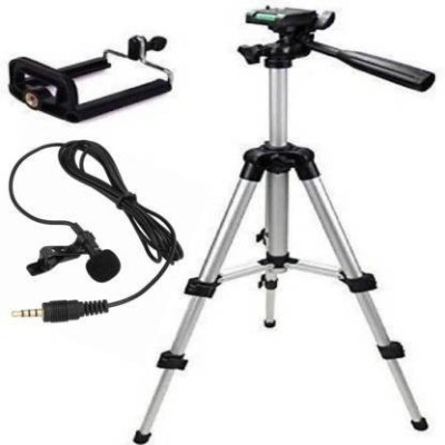 A order Vhem Combo PACK Tripod 3110 Stand Mobile Phone Video Camera Tripod Mini with collar mic Tripod Tripod Kit(Black, Silver, Supports Up to 1500 g)