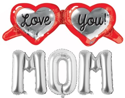 Atpata Funky Solid Love You Mom Text Foil Balloons for Mothers' Day Celebration, Mom's Birthday Balloon Bouquet(Red, Silver, Pack of 4)