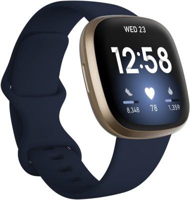 FITBIT Versa 3 Smartwatch(Blue Strap, Regular)